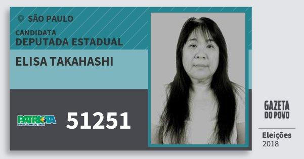 Santinho Elisa Takahashi 51251 (PATRI) Deputada Estadual | São Paulo | Eleições 2018