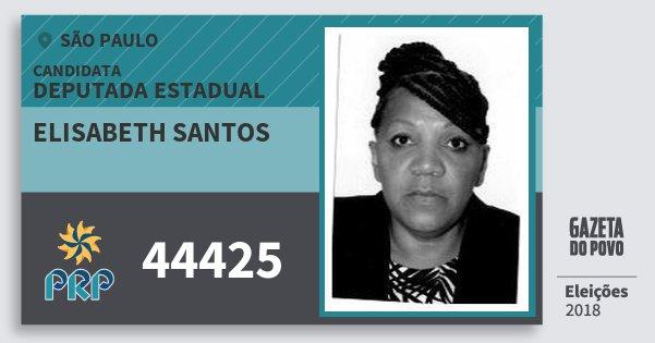 Santinho Elisabeth Santos 44425 (PRP) Deputada Estadual | São Paulo | Eleições 2018