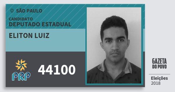Santinho Eliton Luiz 44100 (PRP) Deputado Estadual | São Paulo | Eleições 2018