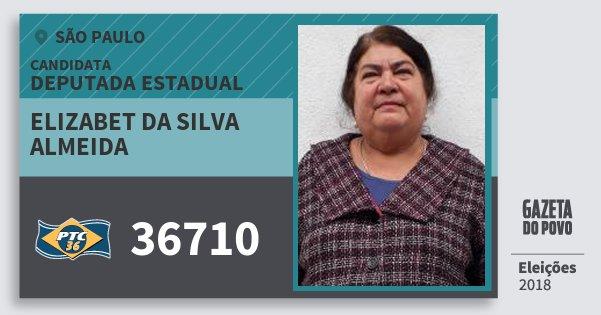 Santinho Elizabet da Silva Almeida 36710 (PTC) Deputada Estadual | São Paulo | Eleições 2018