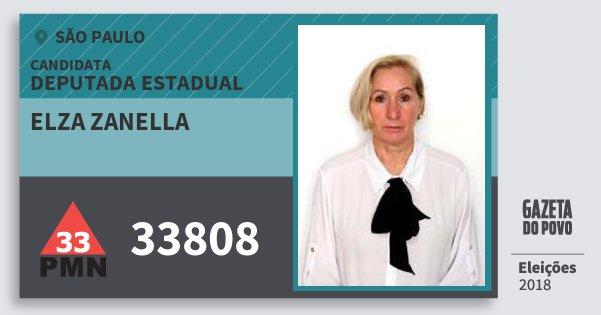 Santinho Elza Zanella 33808 (PMN) Deputada Estadual | São Paulo | Eleições 2018