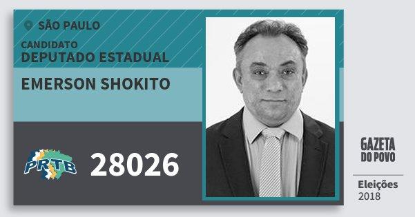Santinho Emerson Shokito 28026 (PRTB) Deputado Estadual | São Paulo | Eleições 2018