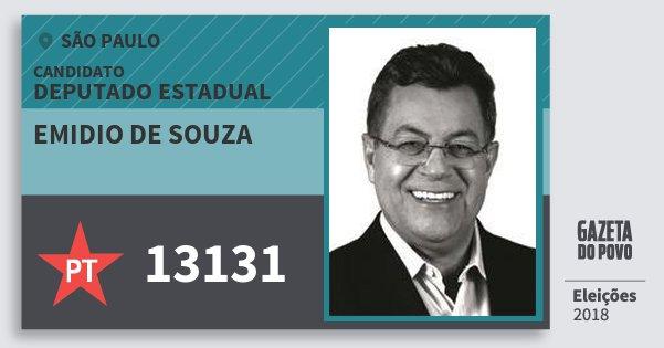 Santinho Emidio de Souza 13131 (PT) Deputado Estadual | São Paulo | Eleições 2018