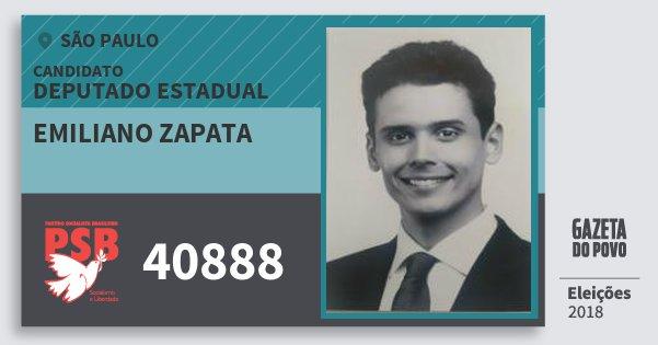 Santinho Emiliano Zapata 40888 (PSB) Deputado Estadual | São Paulo | Eleições 2018