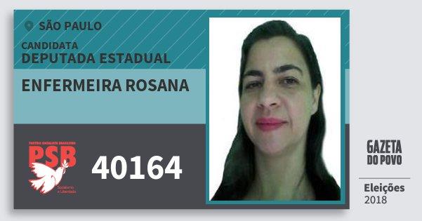 Santinho Enfermeira Rosana 40164 (PSB) Deputada Estadual | São Paulo | Eleições 2018