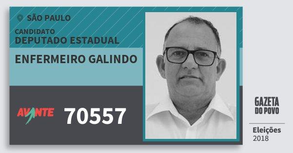 Santinho Enfermeiro Galindo 70557 (AVANTE) Deputado Estadual | São Paulo | Eleições 2018