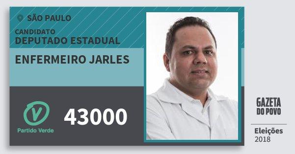 Santinho Enfermeiro Jarles 43000 (PV) Deputado Estadual | São Paulo | Eleições 2018