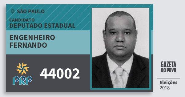 Santinho Engenheiro Fernando 44002 (PRP) Deputado Estadual | São Paulo | Eleições 2018
