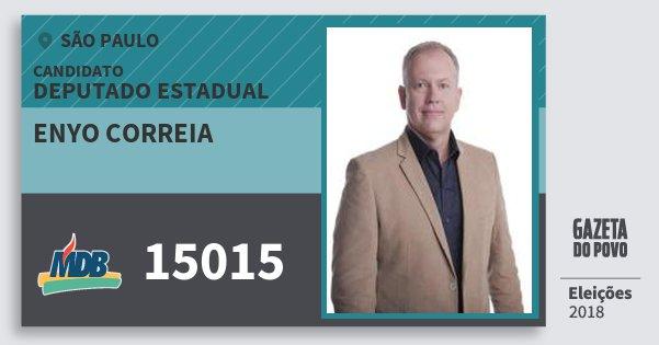 Santinho Enyo Correia 15015 (MDB) Deputado Estadual | São Paulo | Eleições 2018