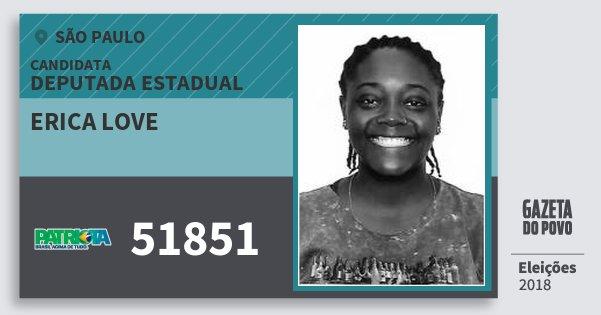 Santinho Erica Love 51851 (PATRI) Deputada Estadual | São Paulo | Eleições 2018