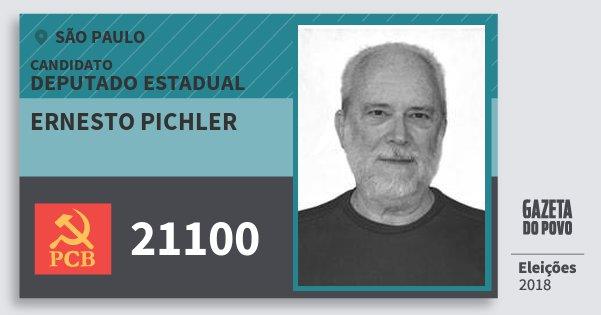 Santinho Ernesto Pichler 21100 (PCB) Deputado Estadual | São Paulo | Eleições 2018