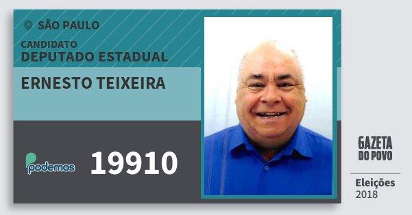 Santinho Ernesto Teixeira 19910 (PODE) Deputado Estadual | São Paulo | Eleições 2018