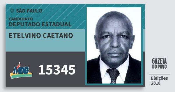 Santinho Etelvino Caetano 15345 (MDB) Deputado Estadual | São Paulo | Eleições 2018