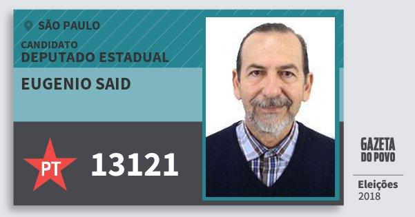 Santinho Eugenio Said 13121 (PT) Deputado Estadual | São Paulo | Eleições 2018