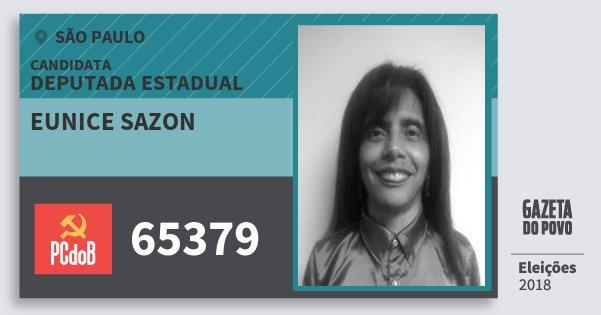 Santinho Eunice Sazon 65379 (PC do B) Deputada Estadual | São Paulo | Eleições 2018