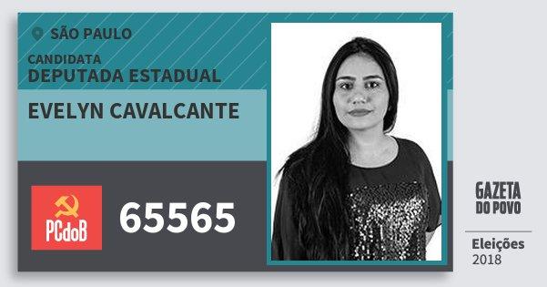 Santinho Evelyn Cavalcante 65565 (PC do B) Deputada Estadual | São Paulo | Eleições 2018