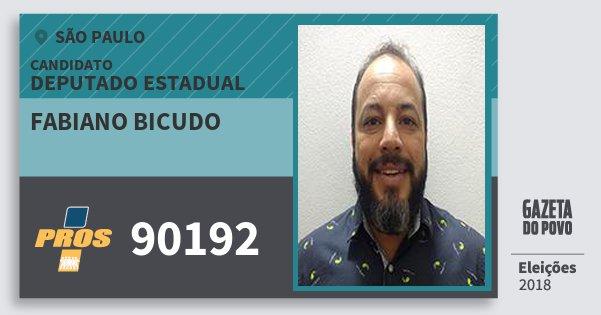 Santinho Fabiano Bicudo 90192 (PROS) Deputado Estadual | São Paulo | Eleições 2018