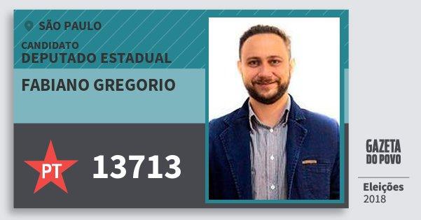 Santinho Fabiano Gregorio 13713 (PT) Deputado Estadual | São Paulo | Eleições 2018