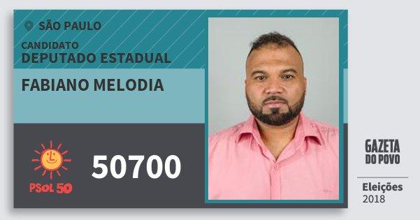 Santinho Fabiano Melodia 50700 (PSOL) Deputado Estadual | São Paulo | Eleições 2018