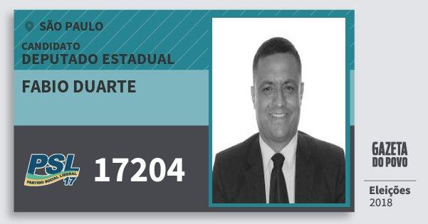 Santinho Fabio Duarte 17204 (PSL) Deputado Estadual | São Paulo | Eleições 2018