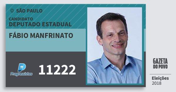 Santinho Fábio Manfrinato 11222 (PP) Deputado Estadual | São Paulo | Eleições 2018