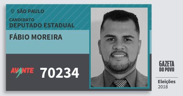 Santinho Fábio Moreira 70234 (AVANTE) Deputado Estadual | São Paulo | Eleições 2018