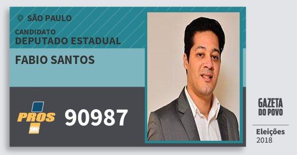 Santinho Fabio Santos 90987 (PROS) Deputado Estadual | São Paulo | Eleições 2018