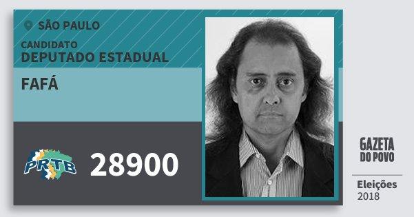 Santinho Fafá 28900 (PRTB) Deputado Estadual | São Paulo | Eleições 2018