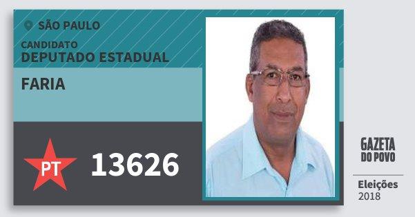Santinho Faria 13626 (PT) Deputado Estadual | São Paulo | Eleições 2018