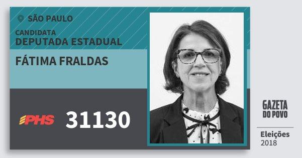 Santinho Fátima Fraldas 31130 (PHS) Deputada Estadual | São Paulo | Eleições 2018