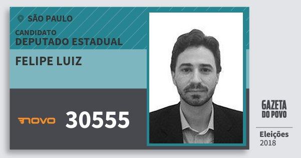 Santinho Felipe Luiz 30555 (NOVO) Deputado Estadual | São Paulo | Eleições 2018
