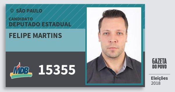 Santinho Felipe Martins 15355 (MDB) Deputado Estadual | São Paulo | Eleições 2018