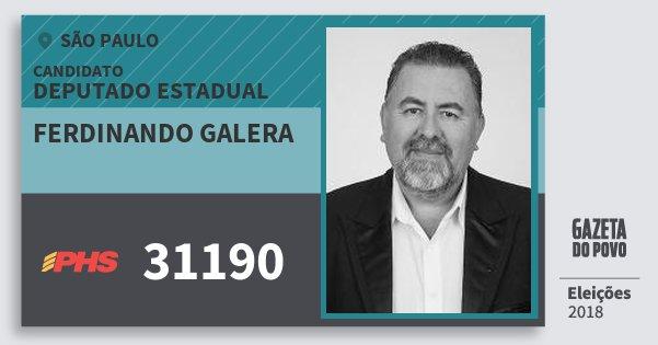 Santinho Ferdinando Galera 31190 (PHS) Deputado Estadual | São Paulo | Eleições 2018