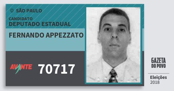 Santinho Fernando Appezzato 70717 (AVANTE) Deputado Estadual | São Paulo | Eleições 2018