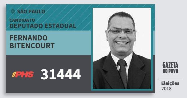 Santinho Fernando Bitencourt 31444 (PHS) Deputado Estadual | São Paulo | Eleições 2018