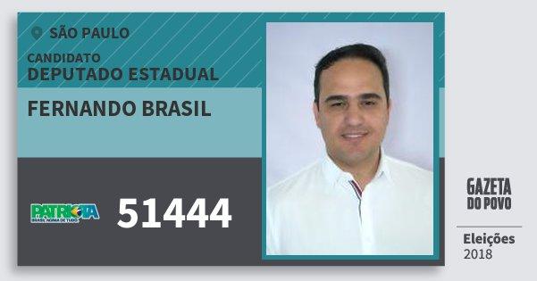 Santinho Fernando Brasil 51444 (PATRI) Deputado Estadual | São Paulo | Eleições 2018
