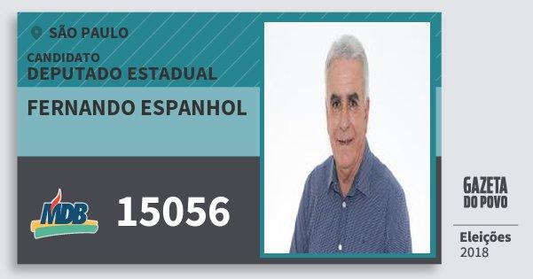 Santinho Fernando Espanhol 15056 (MDB) Deputado Estadual | São Paulo | Eleições 2018