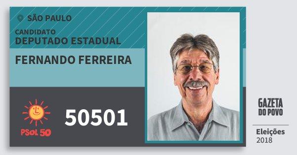 Santinho Fernando Ferreira 50501 (PSOL) Deputado Estadual | São Paulo | Eleições 2018