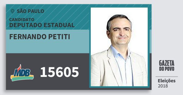 Santinho Fernando Petiti 15605 (MDB) Deputado Estadual | São Paulo | Eleições 2018