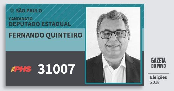 Santinho Fernando Quinteiro 31007 (PHS) Deputado Estadual | São Paulo | Eleições 2018