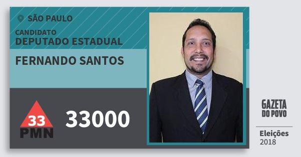Santinho Fernando Santos 33000 (PMN) Deputado Estadual | São Paulo | Eleições 2018