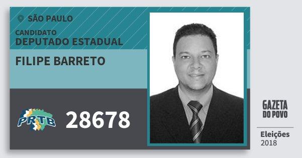 Santinho Filipe Barreto 28678 (PRTB) Deputado Estadual | São Paulo | Eleições 2018