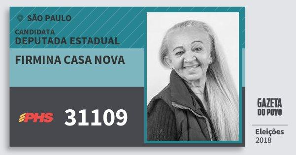 Santinho Firmina Casa Nova 31109 (PHS) Deputada Estadual | São Paulo | Eleições 2018