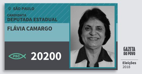 Santinho Flávia Camargo 20200 (PSC) Deputada Estadual | São Paulo | Eleições 2018