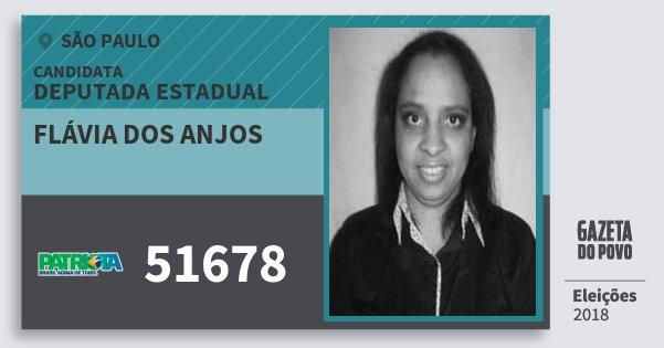 Santinho Flávia dos Anjos 51678 (PATRI) Deputada Estadual | São Paulo | Eleições 2018