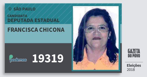 Santinho Francisca Chicona 19319 (PODE) Deputada Estadual | São Paulo | Eleições 2018