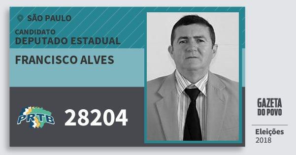 Santinho Francisco Alves 28204 (PRTB) Deputado Estadual | São Paulo | Eleições 2018