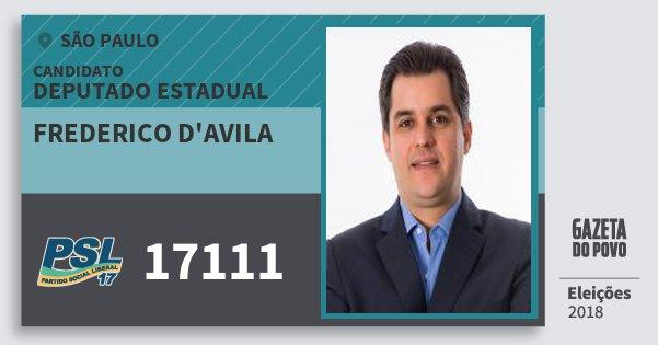 Santinho Frederico d'Avila 17111 (PSL) Deputado Estadual | São Paulo | Eleições 2018