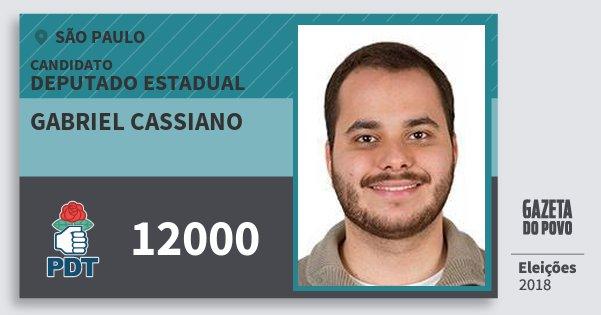 Santinho Gabriel Cassiano 12000 (PDT) Deputado Estadual | São Paulo | Eleições 2018