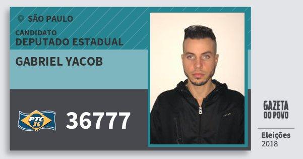 Santinho Gabriel Yacob 36777 (PTC) Deputado Estadual | São Paulo | Eleições 2018